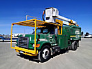 Lift-All LAOC-51-1S, Over-Center Bucket Truck, mounted behind cab on, 1998 Ford F800 Chipper Dump Truck