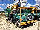 Lift-All LAOC-51-1S, Over-Center Bucket Truck mounted behind cab on 1998 Ford F800 Chipper Dump Truck