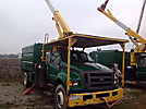 Lift-All LSS-60-1S, Over-Center Bucket Truck mounted behind cab on 2009 Ford F750 Chipper Dump Truck