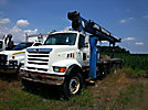 Manitex, Hydraulic Crane, mounted behind cab on, 1998 Ford LT8501 Flatbed/Utility Truck