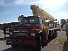 Manitex 28100, Hydraulic Crane, mounted behind cab on, 1991 Ford LNT8000F T/A Flatbed Truck