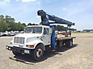 Manitex M1768, Hydraulic Crane, mounted behind cab on 1999 International 4700 Flatbed Truck,