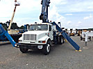 Manitex M1768, Hydraulic Crane, mounted behind cab on 1999 International 4900 T/A Flatbed Truck,