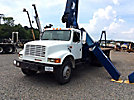 Manitex M1770, Hydraulic Crane, mounted behind cab on 1990 International 4900 T/A Flatbed Truck,