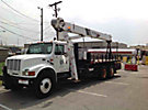 National, Hydraulic Truck Crane, mounted behind cab on, 2000 International 4900 T/A Flatbed Truck