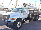 National 337B, Hydraulic Crane mounted behind cab on 2002 Ford F750 Flatbed Truck