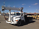 National 437A, Hydraulic Crane, mounted behind cab on, 1991 International 4900 T/A Flatbed Truck