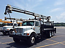 National 446A, Hydraulic Crane, rear mounted on, 1997 International 4900 T/A Flatbed Truck
