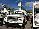 National 556B, Hydraulic Crane, mounted behind cab on, 1989 Ford F800 Flatbed Truck