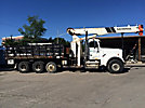 National 562C, Hydraulic Crane mounted behind cab on 2000 Freightliner FLD120SD Tri-Axle Stake Truck