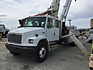 National 600C, Series 638C, Hydraulic Crane, mounted behind cab on, 2001 Freightliner FL70 Extended-Cab Flatbed Truck