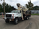National 656C, Hydraulic Crane, mounted behind cab on, 2001 GMC C7500 T/A Stake Truck