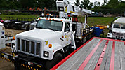 National 800B, Hydraulic Crane, mounted behind cab on, 1991 International 2574 T/A Stake Truck