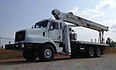 National 900 Series 990A, Hydraulic Crane, mounted behind cab on, 2002 Oshkosh F2144 6X6 Flatbed/Utility Truck