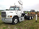 National N135, Knuckleboom Crane, mounted behind cab on, 1995 Ford L9000 Flatbed Truck
