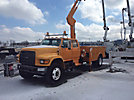 National N65, Knuckleboom Crane, mounted behind cab on, 1997 Ford F800 Crew-Cab Utility Truck