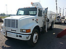 National N80, Hydraulic Knuckle Boom Crane, mounted behind cab on, 2000 International 4900 Flatbed/Utility Truck