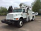 Powers PM201, Hydraulic Crane mounted behind cab on 1991 International 4800 4x4 Flatbed/Utility Truck