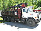 Prentice 120E-BC, Grappleboom/Log Loader Crane, mounted behind cab on, 2000 Sterling LT7500 Tri-Axle Logging Truck
