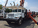 RO Simon TC2863, Hydraulic Crane, mounted behind cab on 1993 International 4900 T/A Flatbed Truck,