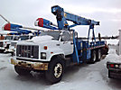 Simon/RO TC2851, Hydraulic Crane, mounted behind cab on, 1996 GMC Topkick T/A Flatbed Truck