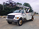 TELSTA T40, Articulating & Telescopic Non-Insulated Cable Placing Bucket Truck, rear mounted on, 2000 Ford F750 Utility Truck
