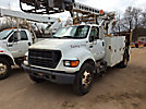 TELSTA T40C, Telescopic Non-Insulated Cable Placing Bucket Truck, rear mounted on, 2000 Ford F650 Utility Truck