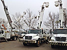 Telelect Commander 4042, Digger Derrick, mounted behind cab on, 2007 International 4300 Extended Cab Flatbed/Utility Truck