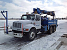 Telelect Commander 4045, Digger Derrick, mounted behind cab on, 1999 International 4900 T/A Utility Truck