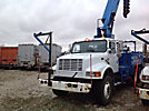 Telelect Commander 4045, Digger Derrick, mounted behind cab on, 2000 International 4900 T/A Flatbed/Utility Truck
