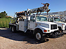 Telelect Commander 4045, Digger Derrick, rear mounted on, 1997 International 4900 Flatbed/Utility Truck