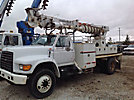 Telelect Commander 4045, Digger Derrick, rear mounted on, 1999 Ford F800 Flatbed/Utility Truck