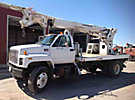 Telelect Commander 4045, Digger Derrick, rear mounted on, 2000 GMC C7500 Flatbed/Utility Truck