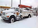 Telelect Commander 92-42, Digger Derrick, mounted behind cab on, 1999 International 4700 Utility Truck
