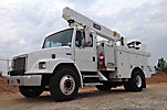Telelect/Hi Ranger C835 TGZ, 50' Telescopic Insulated Elevator Bucket Truck, s/n 2020218061, single-man, mtd behind cab on 2002 Frieghtliner FL80 Utility Truck, Cat 3126 diesel, Auto, A/C