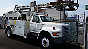 Telsta/MTI T40C, Telescopic Non-Insulated Cable Placing Bucket Truck, center mounted on, 1998 Ford F800 Utility Truck