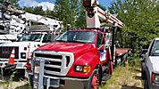 Terex BT3470, Hydraulic Crane mounted behind cab on 2005 Ford F750 Flatbed Truck