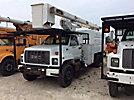 Terex XT55, Over-Center Bucket Truck mounted behind cab on 2002 GMC C7500 Chipper Dump Truck