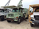 Terex XT55, Over-Center Bucket Truck mounted behind cab on 2002 International 4700 Chipper Dump Truck