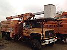 Terex XT60/70, Over-Center Elevator Bucket Truck, mounted behind cab on, 2000 GMC C8500 Chipper Dump Truck