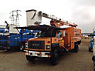 Terex XT60/70, Over-Center Elevator Bucket Truck, mounted behind cab on, 2002 GMC C8500 Chipper Dump Truck