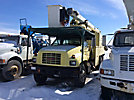 Terex/HiRanger XT55, Over-Center Bucket Truck, mounted behind cab on, 1999 GMC C7500 Chipper Dump Truck