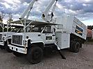Terex/HiRanger XT55, Over-Center Bucket Truck mounted on 1999 GMC C7500 Chipper Dump Truck