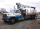USTC 1250JBT, Hydraulic Crane, mounted behind cab on, 2000 GMC C8500 T/A Flatbed Truck