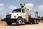 USTC Hydraulic Crane mounted behind cab on 2001 Freightliner FL80 T/A Flatbed Truck, 1500JBT