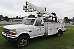 Versalift SST36N, Articulating & Telescopic Non-Insulated Bucket Truck mounted behind cab on 1997 Ford F450 Service Truck