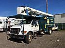 Versalift V0255RV, Bucket Truck, mounted behind cab on, 2002 Ford F750 Dump Chipper Truck