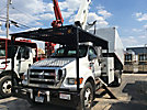 Versalift V0260RV, Over-Center Bucket Truck, mounted behind cab on, 2008 Ford F750 Chipper Dump Truck