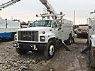 Versalift V0350MHI, Over-Center Material Handling Bucket Truck, rear mounted on, 2002 GMC C8500 Utility Truck