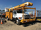 Versalift V0355MHI, Over-Center Material Handling Bucket Truck mounted behind cab on 2006 Ford F750 Utility Truck